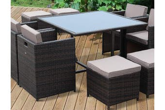 VASTO 8 Seater 110cm Dining Set | Brown Wicker/Brown Cushions