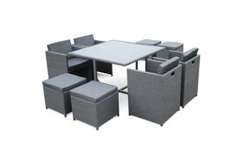 VASTO 8 Seater 110cm Dining Set | Grey Wicker/Grey Cushions