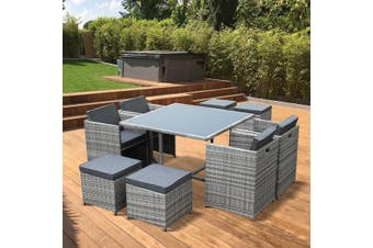 VASTO 8 Seater 110cm Dining Set | Mix Grey Wicker/Grey Cushions