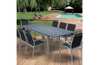 CHICAGO 8 - 10 Seater 175/245cm Extending Aluminium Dining Set - White/Grey