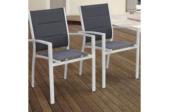 CHICAGO ARMCHAIRS Set of 2x Aluminium Chairs with Armrests - White/Grey
