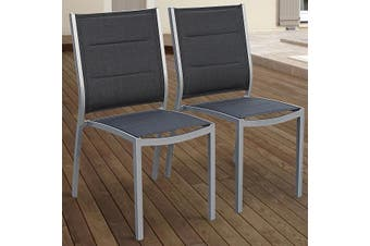 CHICAGO CHAIRS Set of 2x Aluminium Chairs - Anthracite Grey/Grey