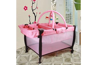 JOY BABY Portable Travel Cot Portacot with Bassinet - Pink