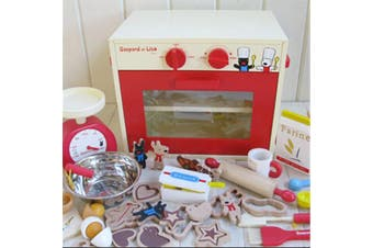 ALL 4 KIDS Kids Wooden Pretend Play Toy Oven Bakery Toy Set with Accessories
