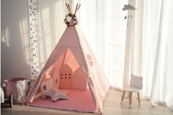 All 4 Kids Cotton Canvas Kids Pink Square Teepee Tent with Flag