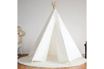 All 4 Kids Large Cotton Canvas Kids Hexagonal Teepee Tent - white