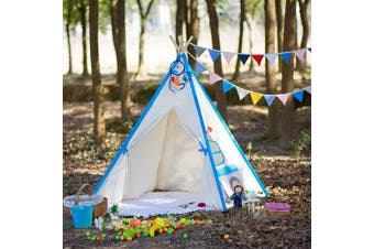 All 4 Kids Large Cotton Canvas Kids Blue Car Square Teepee Tent
