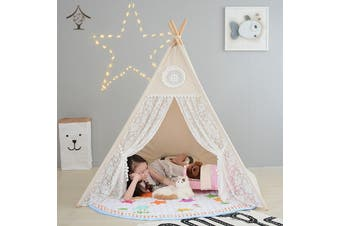 ALL 4 KIDS Large Lace Kids Boys Girls Cute Lace Square Teepee Outdoor Tent
