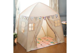 All 4 Kids Large Cotton Canvas Kids House Shape Square Teepee Tent