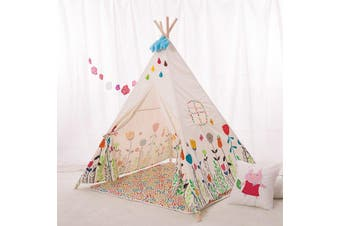 ALL 4 KIDS Large Kids Boys Girls Cute Flower Square Teepee Outdoor Tent