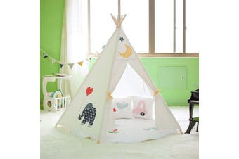 All 4 Kids Large Cotton Canvas Kids Elephant Pentagon Teepee Tent