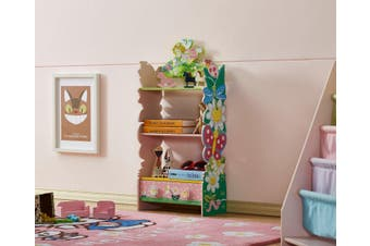 ALL 4 KIDS Girls Hand Painted 3 Tier Flower Bookcase with Drawers