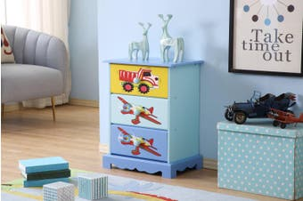 ALL 4 KIDS Boys Hand Painted Plane 3 Drawer Bedside Table