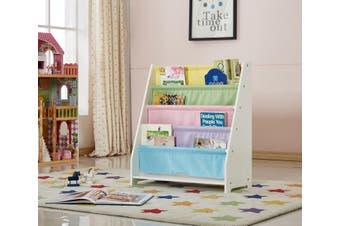 ALL 4 KIDS White Kids Wooden Canvas Sling Magazine Bookcase