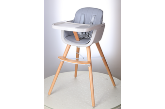 JOY  BABY Grace Timber Highchair - Grey