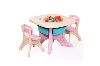 ALL 4 KIDS Children Table and Chairs Set Furniture with Storage Basket - Pink