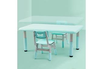 ALL 4 KIDS Height Adjustable Rectangle Table with 2 Chairs - Blue