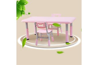 ALL 4 KIDS Height Adjustable Rectangle Table with 2 Chairs - Pink