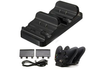 2 USB Rechargeable Battery and Dual Controller Charger Charging Dock Station for Microsoft XBOX ONE