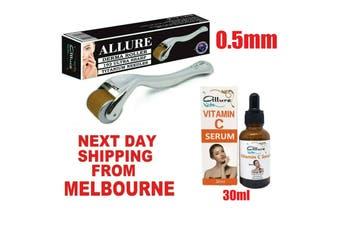 Derma Roller Kit 192 Titanium Microneedles 0.5mm Vitamin C Serum 30ml