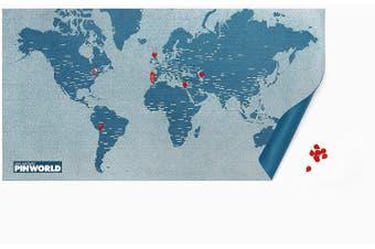 Pin World World Light Blue Felt Map