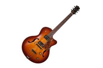 Godin 039289 5th Avenue CW Kingpin II HB Cognac Burst 6 String RH Hollow Body Guitar with Tric Case