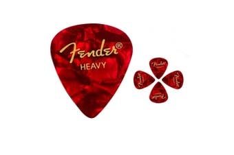 Fender 351 Premium Heavy  Celulloid  Guitar Picks -  Red  Moto - 5 Picks