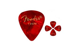 Fender 351 Premium Thin Celulloid  Guitar Picks -  Red  Moto - 5 Picks