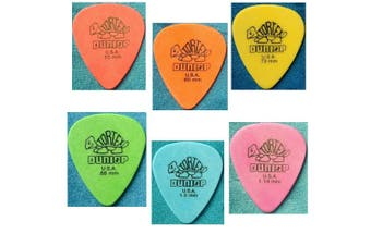 Dunlop Standard Tortex 6 Mixed  Picks   6  Guitar Picks  Assorted Gagues