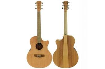 Cole Clark Angel 1 Southern Silky Oak Acoustic / Electric Guitar w/ Cutaway & Bag
