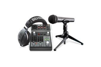 Behringer PODCASTUDIO 2 USB Bundle - Podcasting Bundle  Xenyx 302USB Mixer, Ultravoice XM8500 Dynamic Vocal Microphone
