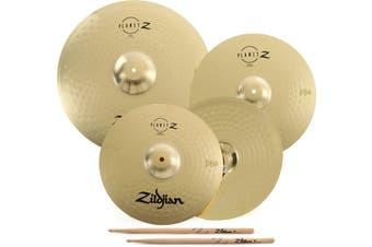 """Zildjian Planet Z 4-piece Cymbal Set - 14"""", 16"""", 20"""" Plus 5A Sticks"""