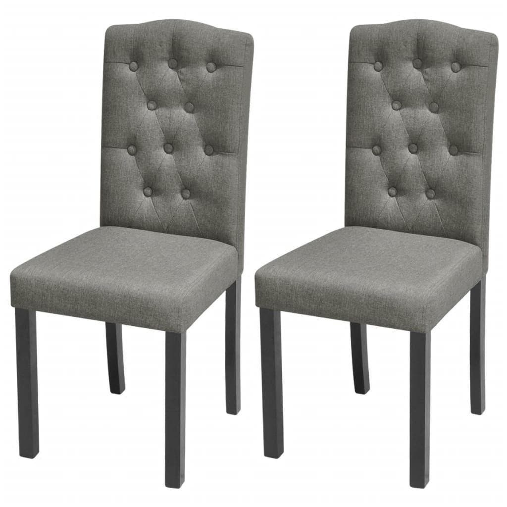 Dining Chairs 2 pcs Light Grey Fabric Our dining chairs feature an elegant and timeless design, which will make an eye-catching statement in your dining room or kitchen. Topped with thick, soft-to-the-touch upholstery, these chairs are ergonomically designed to offer you comfortable seating experience. The solid wooden legs add to the chairs' stability and sturdiness. The dining chairs are easy to assemble. Delivery includes 2 dining chairs.