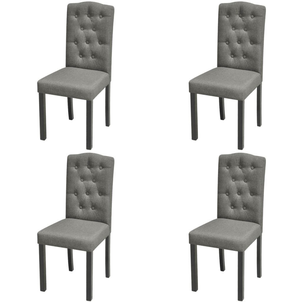 Dining Chairs 4 pcs Light Grey Fabric Our dining chairs feature an elegant and timeless design, which will make an eye-catching statement in your dining room or kitchen. Topped with thick, soft-to-the-touch upholstery, these chairs are ergonomically designed to offer you comfortable seating experience. The solid wooden legs add to the chairs' stability and sturdiness. The dining chairs are easy to assemble. Delivery includes 4 dining chairs.