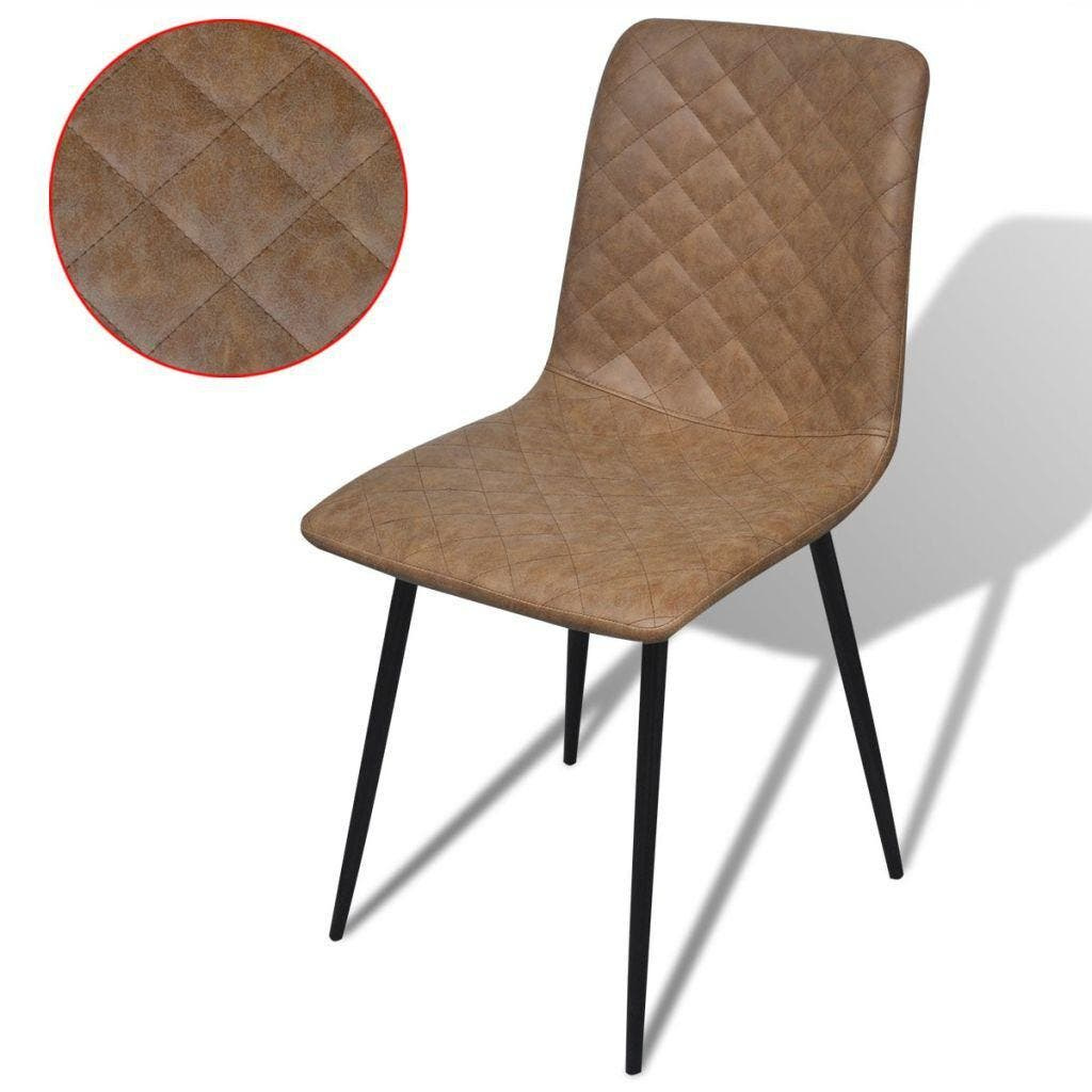 Dining Chairs 4 pcs Brown Faux Leather These stylish, high-quality artificial leather dining chairs will be a great choice for use around the house. The dining chairs are crafted from high-quality plywood, which makes them durable. Thanks to the quality steel used, the chairs have sturdy and stable legs, and their foam padded seat makes them highly comfortable to sit on. They can also be used as stylish office chairs. These chairs will add a touch of cool, modern style to your living space! Delivery includes 4 high-quality artificial leather dining chairs.