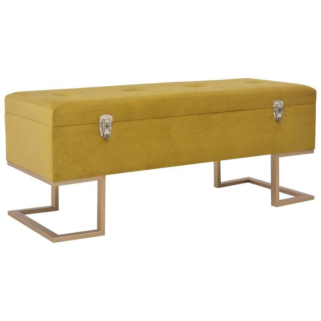 Bench With Storage Compartment 105 Cm Mustard Velvet Matt Blatt