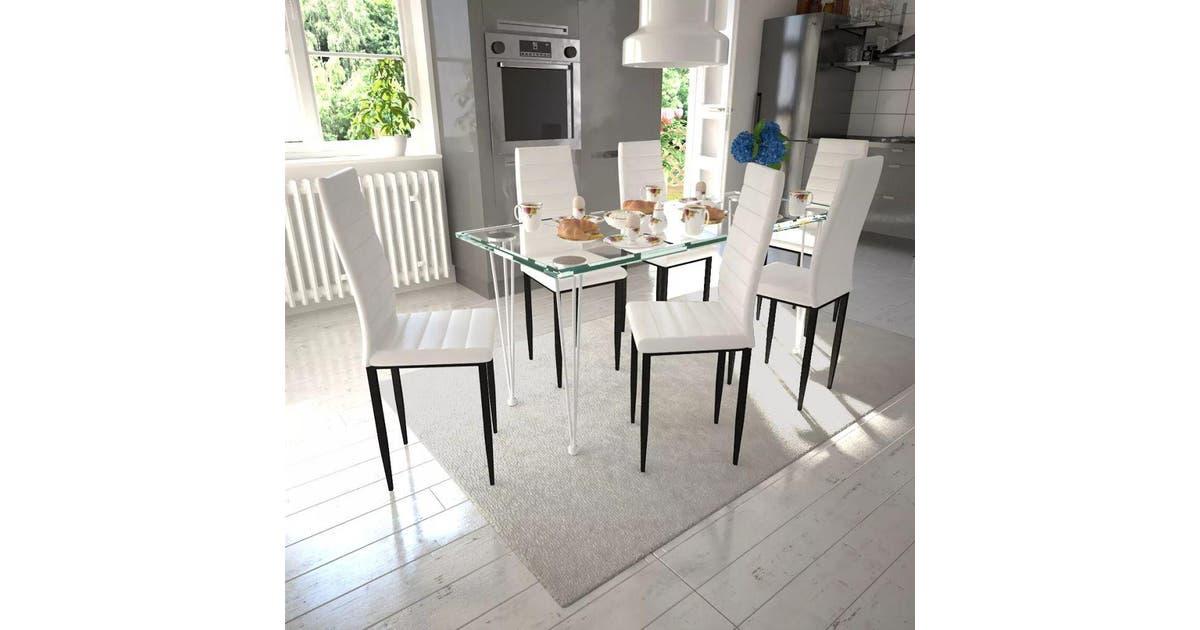 Dining Set White Slim Line Chair 6 Pcs With 1 Glass Table Matt Blatt