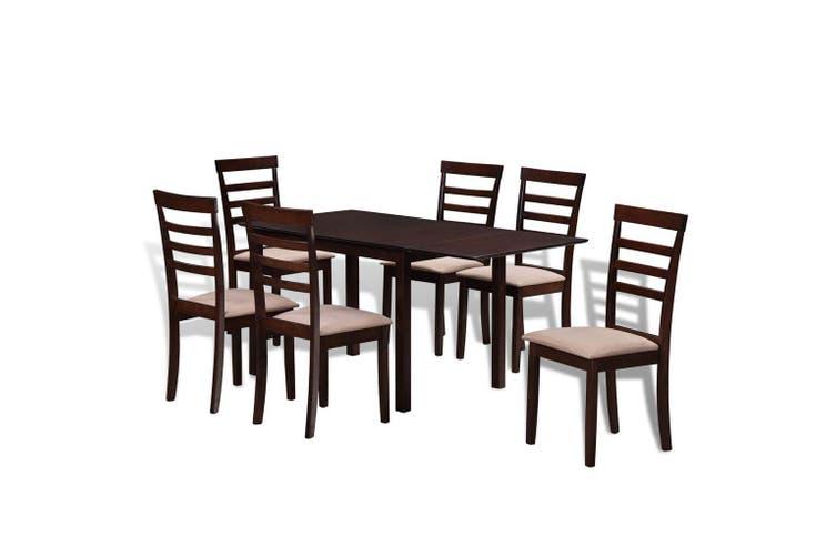 Brown Cream Solid Wood Extending Dining Table Set With 6 Chairs Matt Blatt
