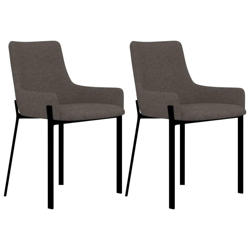 Dining Chairs 2 pcs Taupe Fabric These stylish, high-quality fabric dining chairs will be a great choice for use around the house. The dining chairs are crafted from solid plywood, which makes them durable. Thanks to the quality steel used, the chairs have sturdy and stable legs, and their foam padded seat makes them highly comfortable to sit on. They can also be used as stylish office chairs. These chairs will add a touch of cool, modern style to your living space! Delivery includes 2 fabric dining chairs.