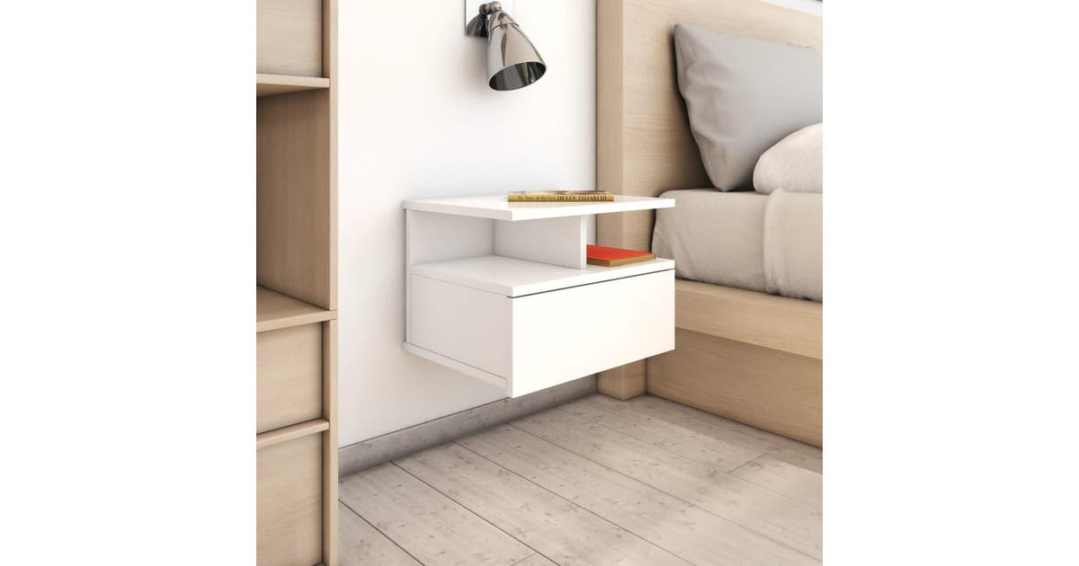 tama a trading floating nightstands 2 pcs high gloss white 40x31x27 cm chipboard