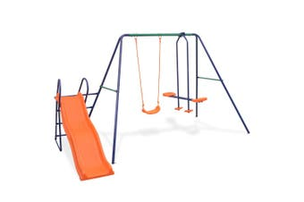 Kids Outdoor Swing Set Play Centre With Slide 3 Seats