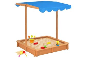 Kids Sandbox Play Sand Pit With Adjustable Shade Roof