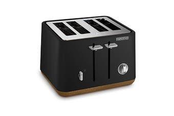 Morphy Richards Aspect Scandi 4 Slice Toaster Black w/ Cork Trim- 240014