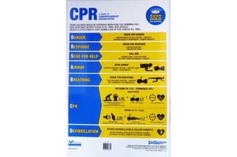 Swimming Pool Safety Sign 2019 updated DRSABCD PVC - Aussie Gold CPR Pool Sign