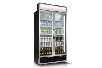 Husky 975L Double Glass Door Commercial Fridge in Black