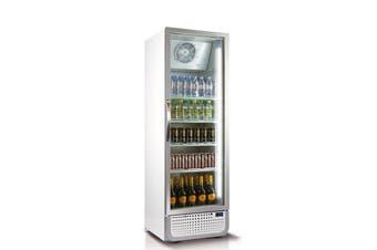 Husky 486L Single Glass Door Commercial Fridge in White