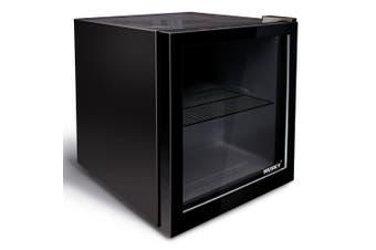 Husky 50L Glass Door Bar Fridge in Black