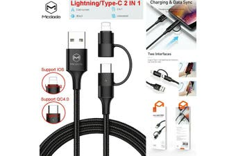 MCDODO 2in1 Charger Nylon Lightning QC4.0 Type-C USB Cable iPhone Huawei Samsung