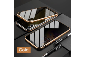 Privacy Anti Peep Manegtic Adsorption Phone Case Metal Back Glass Cover For IPhone SE 2 (2020)  [Gold]