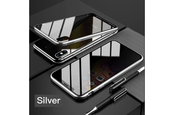 Privacy Anti Peep Manegtic Adsorption Phone Case Metal Back Glass Cover For IPhone SE 2 (2020) [Silver]